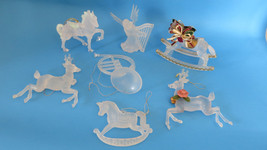 7 Christmas Frosted Plastic Angel, Reindeer, Rocking Horse, Horn, Horse ... - $9.49