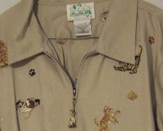 Ladies Jacket Quacker Factory Collectible Embroidered Cats and Cat Zipper Pull1X