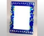 Ocean Blue Potpourri Fused Glass Picture Frame Photo 5x7 Handcrafted