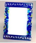 Ocean Blue Potpourri Fused Glass Picture Frame Photo 5x7 Handcrafted - $52.00