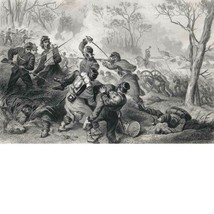 F.O.C. Darley, Steel Engraving, Death of Col. Baker at Ball's Bluff, 186... - $59.00