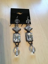 Costume Fashion Jewelry SLIVER TONE AND CRYSTAL DROP EARRINGS - $14.85