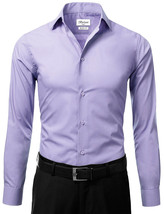 Berlioni Italy Men's Slim-Fit Premium Barrel Cuff Solid Lavender Dress Shirt - L image 2