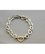 "STUNNING Sterling & 18K Figural Heart Link Bracelet Tiffany & Co. 7.5"" - $324.99"