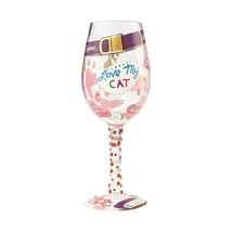 """Love My Cat """"Designs by Lolita"""" Wine Glass 15 oz 9"""" High  Gift Boxed"""
