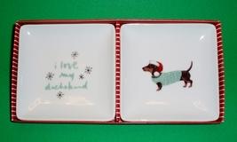 Set of 2 Porcelain Santa Dachshund Trinket Trays - $18.00