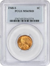 1948-S 1c PCGS MS65 RD - Lincoln Cent - $29.10