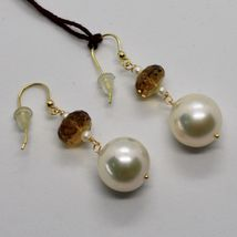 Yellow Gold Earrings 18k 750 Freshwater Pearls And Quartz Beer Made in Italy image 5