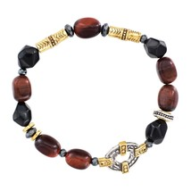 Sterling Silver, Brass, Agate, Hematite, and tiger's Eye Stretch Bracele... - $114.34