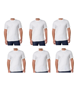 Kirkland Signature Men's 6 PACK WHITE Crew Neck T-Shirt M - £18.96 GBP