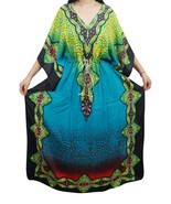 Digital Long Animal Print Kaftan~Free Size~Casual  Maxi Caftan~Beach Robe~Gown - $7.56
