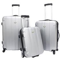 3-Piece Silver Rome Hardside Lightweight Spinner Rolling Luggage TSA Loc... - $138.59