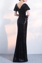 BLACK Sleeved High Waist Maxi Sequin Dress Floor Length Sequin Wedding Dresses image 8