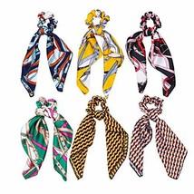 VPAL 6 Pcs Hair Scrunchies Satin Silk Hair Scarf Band Ponytail Holder El... - $13.89