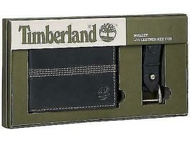 Timberland Men's Leather Slimfold Wallet Key Fob Gift Set Black NP0366/08 image 1