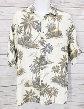 Moda Campia Hawaiian Shirt Sz Large Men Palm Tree Camp Short Sleeve 100%... - $10.45
