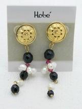HOBE Gold Tone Black Crystal Pearl Post Dangle Earrings 1980 1990s New O... - $19.80