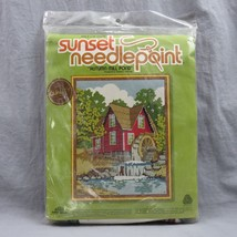 Sunset Needlepoint Kit Autumn Mill Pond 15x18 Country House Watermill Se... - $17.14