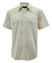 LW Men's Western Cowboy Pearl Snap Cotton Light Yellow Rodeo Dress Shirt 2XL image 1