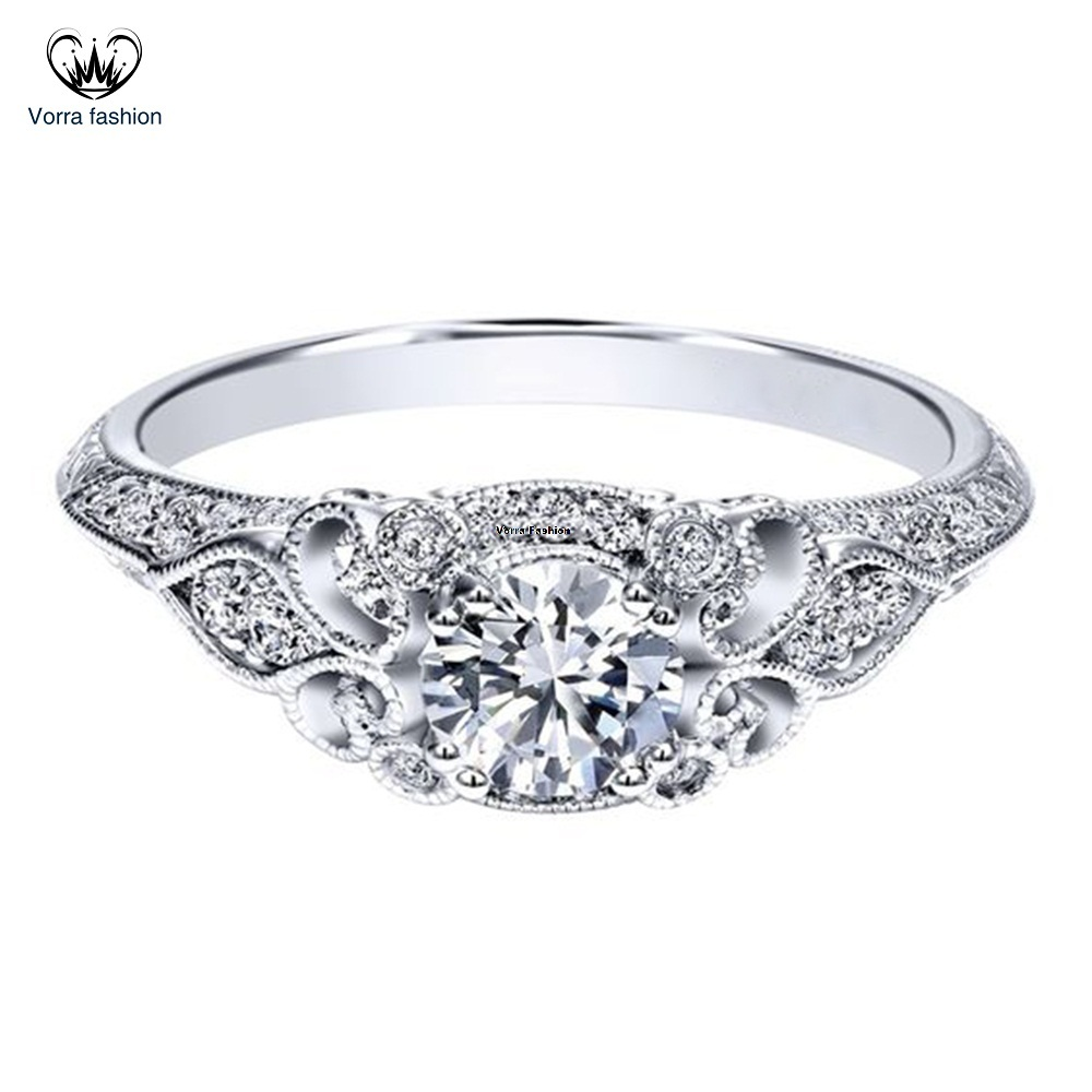 Engagement Wedding Ring Diamond 14k White Gold Plated Pure 925 Sterling Silver