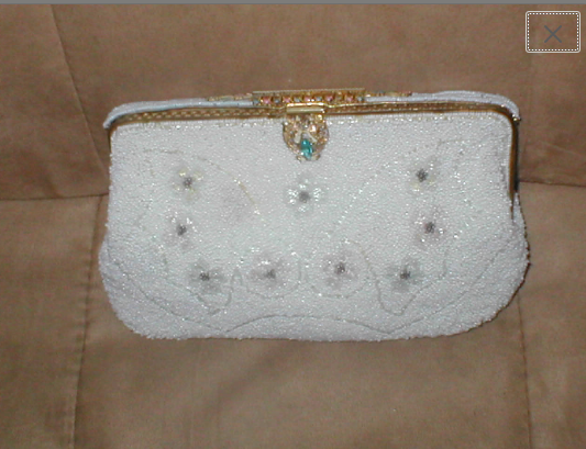 Primary image for Vintage Pale Aqua Beaded Evening Clutch Purse made in France