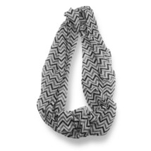 Black Gray Chevron Stripped Sheer Infinity Scarf Loop Sheer Wrap Scarves... - $9.49