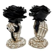 Yankee Candle Phantasmagoria Black Rose Skeleton Taper Candle Holder Lot... - $138.59