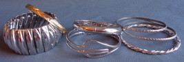 7 Pc Lot Vintage Bangle Bracelets Emmons Whiting Davis Harwood Hinged St... - $24.99