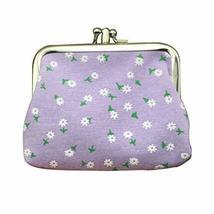 PANDA SUPERSTORE Multilayer Solid Floral Purple Canvas Change Purse Keys Pocket  - $16.99