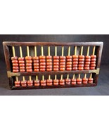 ABACUS Primitive Beaded Calculator Decorative Wood and Brass 10 Inch Long - $23.75