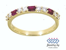 Ruby Baguette Birthstone 14K Yellow Gold 0.33CT Natural Diamond Fancy Fi... - $1,491.93