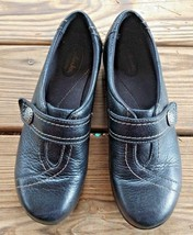 Clarks Size 9 Bendables Slip On Walking Comfort Career Clogs Black Leath... - $28.25