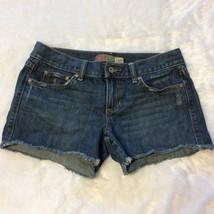 Old Navy Cutoff Jean Shorts Size 4 Blue Denim Frayed Hem Mini Low Waist Distress - $18.24