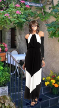 Women's Maxi Dress Black And White  With Removable Sleeves XXS-XL - $160.00