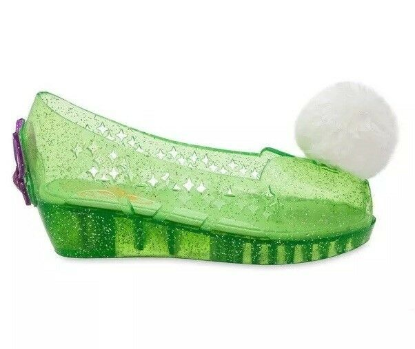 Disney Store Deluxe Tinkerbell Slip In Glitter Jelly Wedge Shoes Pom Pom Sz 2/3