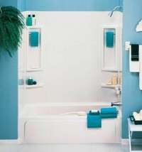 Vantage Bath Tub Wall Shower Towel Bars Soap Shelves Bathroom Kit White ... - $136.71
