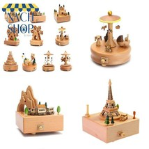 Kawaii Zakka Carousel Musical Boxes Wooden Music Box Wood Crafts Retro B... - $23.18