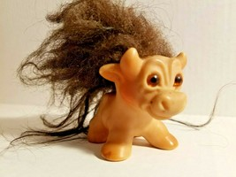 Cow Troll Doll DAM THINGS Amber Eyes 1964 Vintage Black Mohair V844 Udde... - $128.65