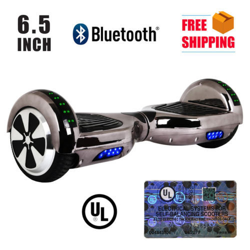 UL2272 Bluetooth LED Gun Metal Chrome Hoverboard Two Wheel Balance Scooter 6.5""