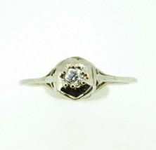 Art Deco 14k White Gold Genuine Natural Diamond Filigree Ring .10ct (#J839) - $295.00