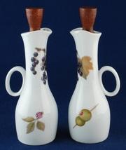 Royal Worcester Evesham Oil & Vinegar Cruets w Wooden Stoppers Pair NIB - $22.00