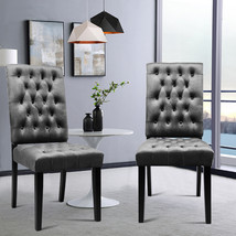 European Style Set of 2 Velvet Buttoned Dining Chairs - $170.00