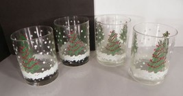 Christmas Tree and Snow Double Old Fashioned Glass Tumbler (s) LOT OF 4 ... - $19.75