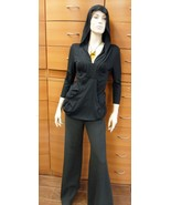 PANTS LONG WIDE LEG MADE IN EUROPE UNIQUE LUX WOOL JERSEY FLARED SLIMMIN... - $316.00