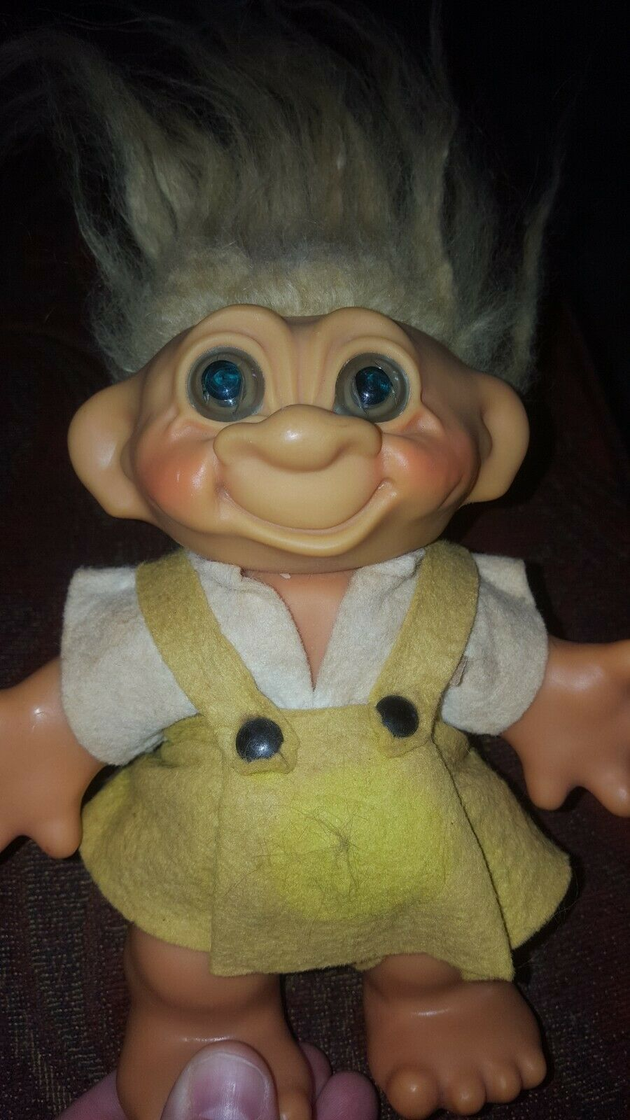 Vintage 1960's Thomas DAM Denmark Troll Doll Bank Yellow Hair Yellow Outfit