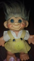Vintage 1960's Thomas DAM Denmark Troll Doll Bank Yellow Hair Yellow Outfit - $19.76