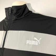 Puma Track Jacket Mens XL Black Gray Embroidered Spell Out Logo Full Zip - $34.64
