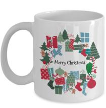 Merry Christmas Trees Presents Colorful Cute Coffee Mug Tea Cup Gift Ceramic 11 - $19.55+