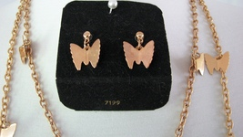 Necklace Set Sarah Coventry Flutter Byes 1970s Earrings Boxed - $48.00