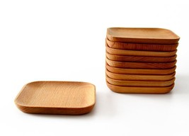 Wooden Tableware Feeder Beech Plate Consolidation Wooden Square Plate Of... - $152,07 MXN